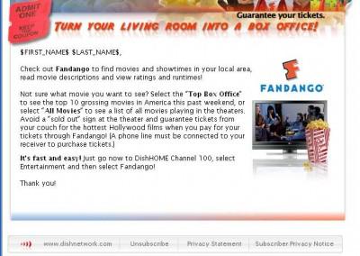 DishNetwork Fandango email sample