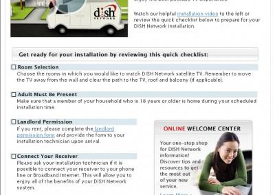 DishNetwork Install email sample